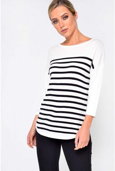 Crush 3/4 Sleeve Top in Black Stripe