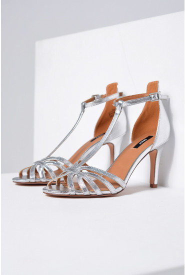 Abby PU Heeled Sandals in Silver