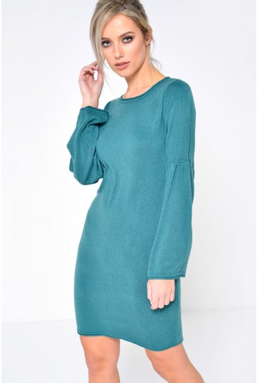 Stardust Bell Sleeve Jumper Dress in Hydro