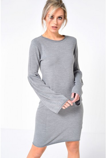 Stardust Bell Sleeve Jumper Dress in Grey
