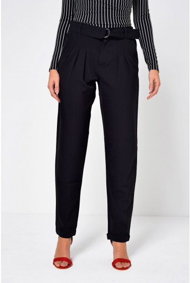 Bax Relaxed Fit Trousers in Black