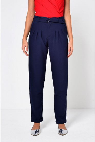 Bax Relaxed Fit Trousers in Navy
