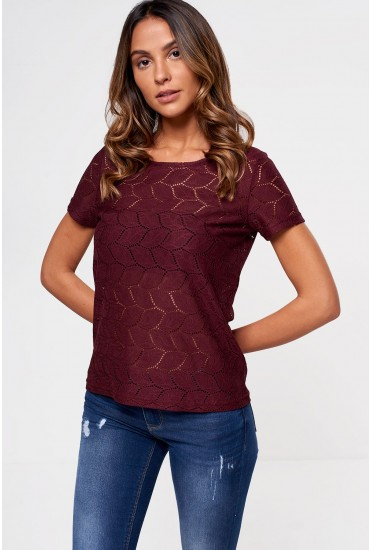 Tag S/S Lace Top in Wine