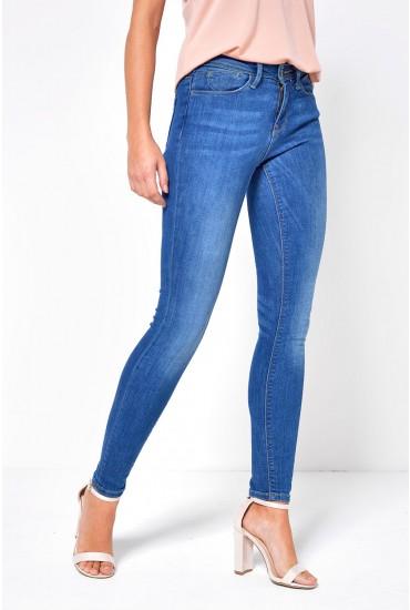 Carmen Short Skinny Fit Jeans in Medium Blue Denim