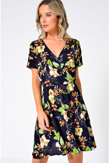 Trick Floral Wrap Dress in Navy