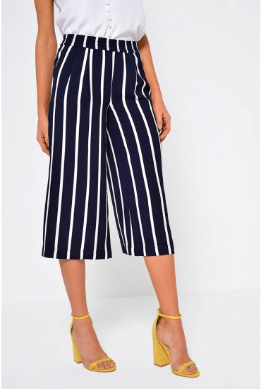 Piper Striped Culotte Pants in Navy