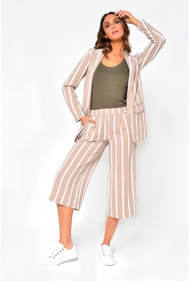 Piper Striped Culotte Pants in Stone