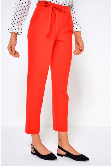Michelle Wrap Tie Pants in Red