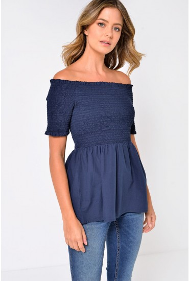 Damilla Off Shoulder Top in navy