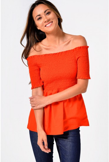 Damilla Off Shoulder Top in Red