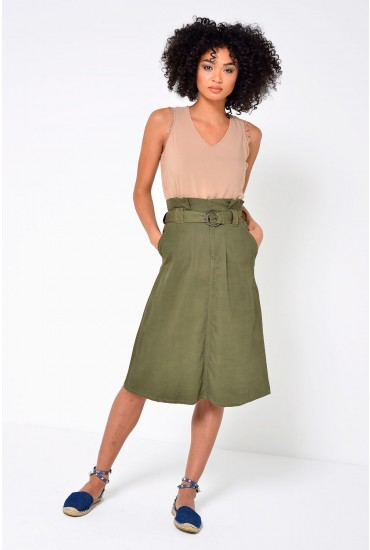 Gianna High Waist Belted Skirt in Khaki