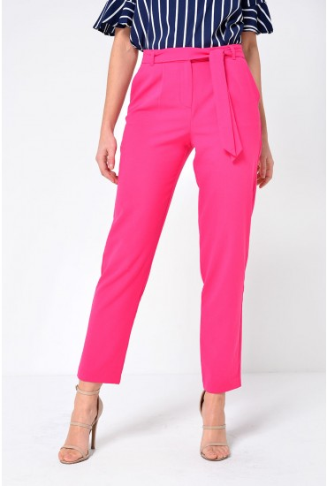 Michelle Belted Straight Trousers in Pink