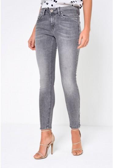 Kendell Regular Ankle Zip Jeans in Medium Grey