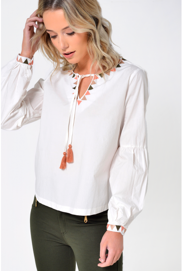 Tami L/S Tassel Top in Off White