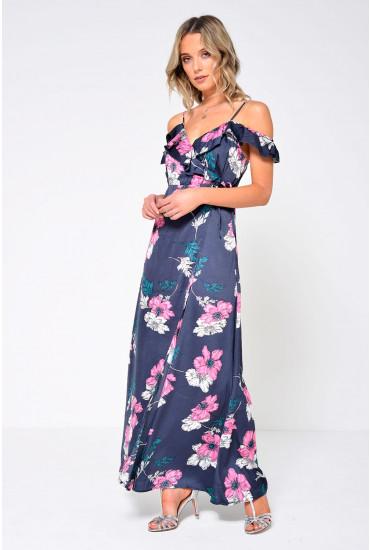 Porsha Maxi Wrap Dress in Navy