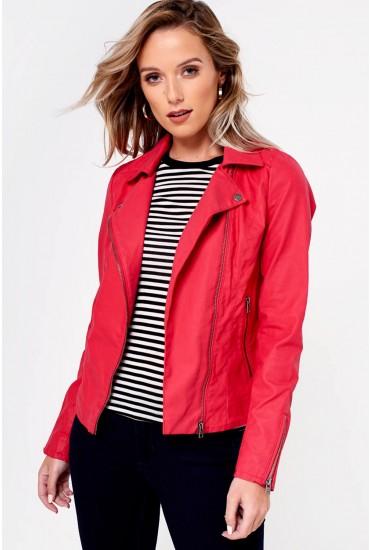 Saga Faux Leather Biker Jacket in Cherry