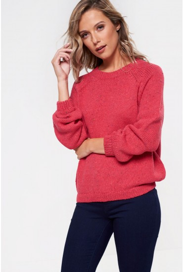 Ina Balloon Sleeve Fleck Knit in Pink