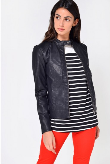 Dallas Faux Leather Jacket in Black