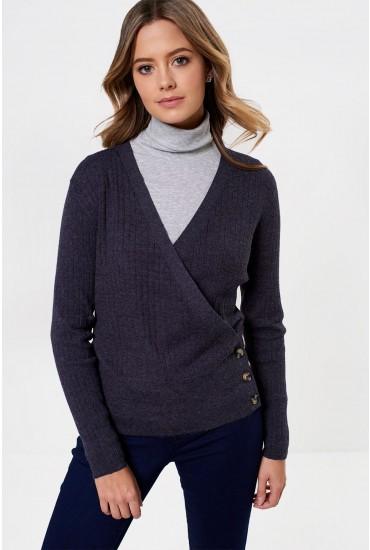 Erika Long Sleeve Wrap Cardigan in Grey