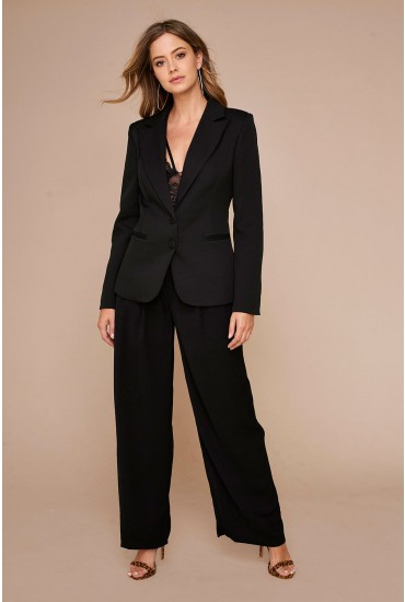 Enzo High Waist Wide Trousers in Black
