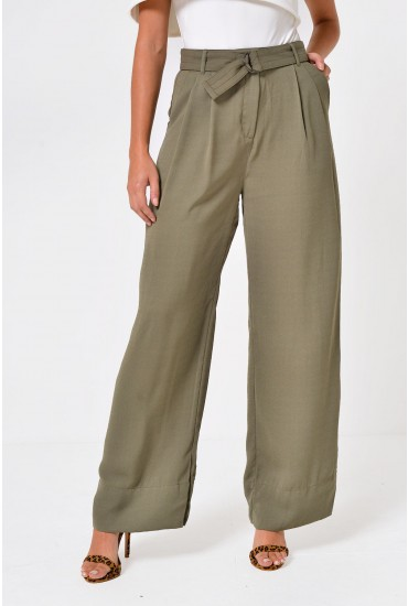 Enzo High Waist Wide Trousers in Khaki