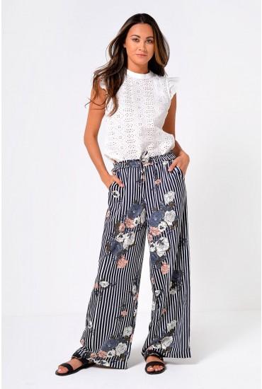 Gaby Wide Leg Printed Trousers in Navy Stripe