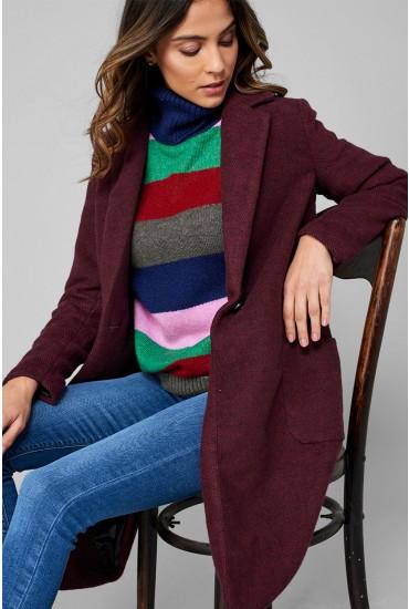 Astrid Oversized Coat in Wine