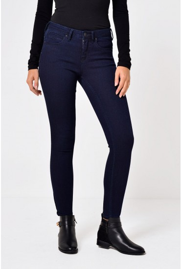 Kendell Long Ankle Zip Skinny Jeans in Dark Blue