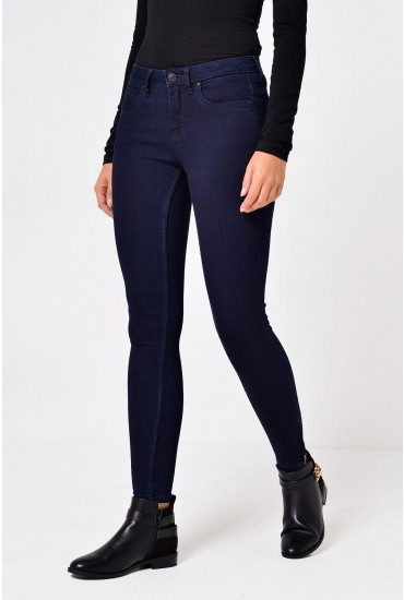 Kendell Regular Ankle Zip Skinny Jeans in Dark Blue
