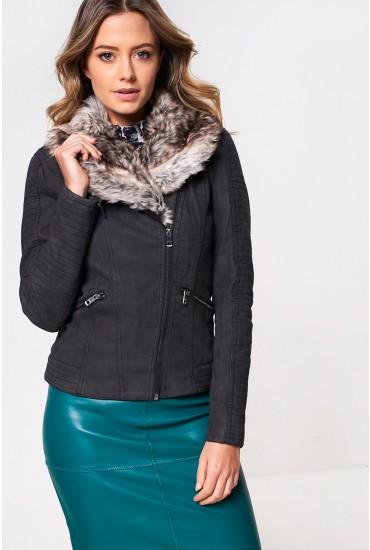 Sassy Faux Fur Collar Biker Jacket in Black