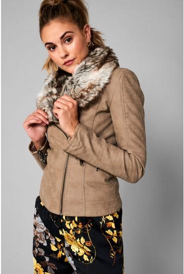 Sassy Faux Fur Collar Biker Jacket in Taupe