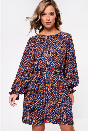 Lara Long Sleeve Dress With Geometric Print