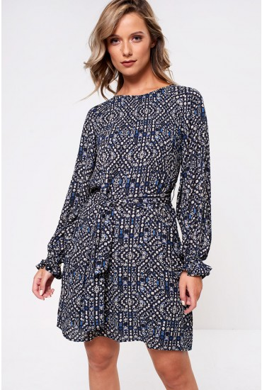 Lara Long Sleeve Dress With Geometric Print in Navy