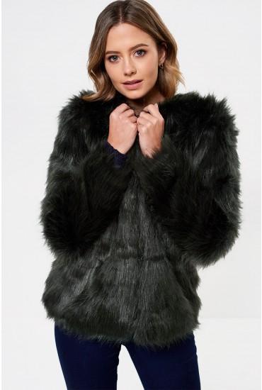 Fenya Faux Fur Jacket in Dark Emerald