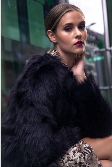 Fenya Faux Fur Jacket in Black