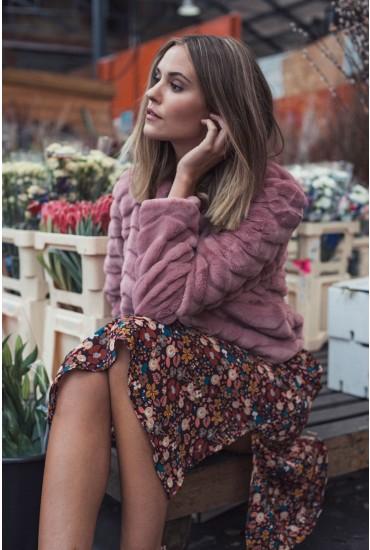 Evan Short Faux Fur Jacket in Rose