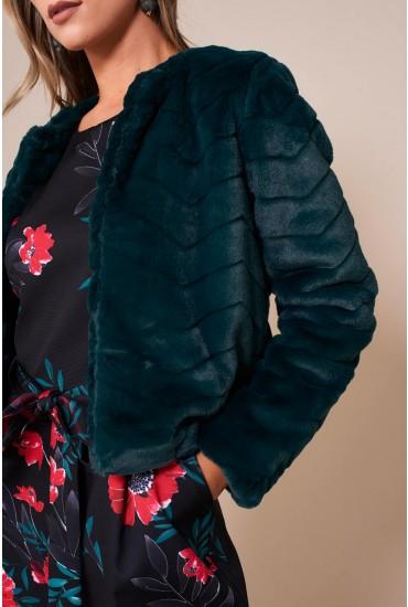 Evan Short Faux Fur Jacket in Green