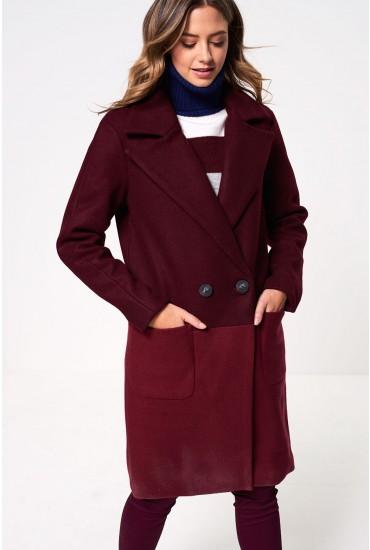 Christa Oversized Wool Coat in Wine