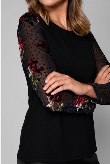 Sapphire Top With Contrast Sheer Sleeves in Black