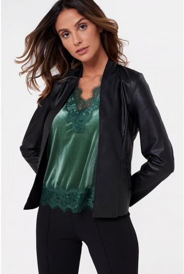 Paola Faux Leather Blazer in Black
