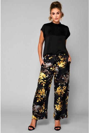 Eliana Wide Leg Trousers in Black Floral Print