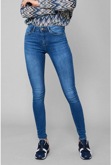 Paola Petite High Waist Skinnies in Mid Wash