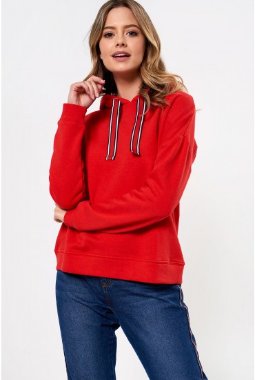 Louise Hooded Sweat in Red