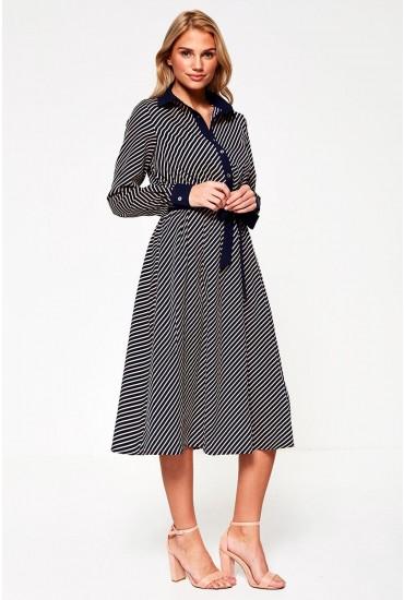 Cara Midi Dress in Navy Stripe Print