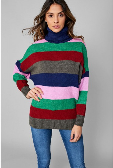 Monica Roll Neck Knit Jumper in Rainbow Stripe
