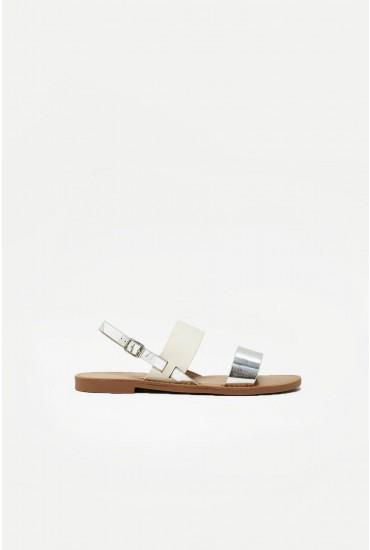 Mandala Flat Sandals in Silver