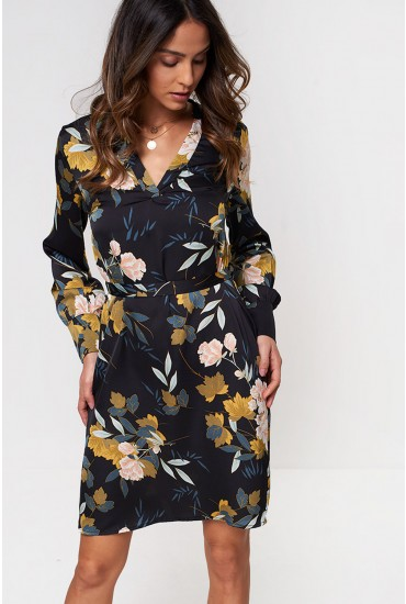 Faye Long Sleeve Shift Dress in Black Floral