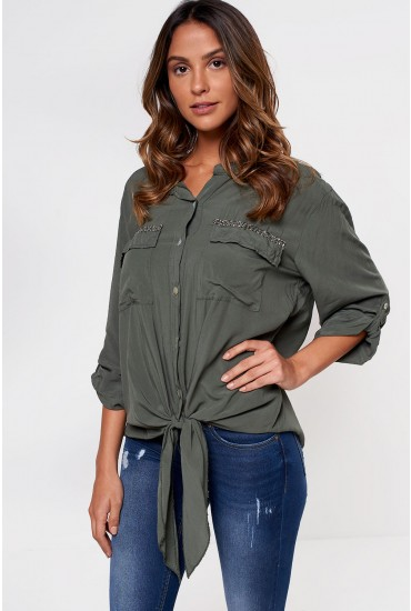 Carrie Long Sleeve Shirt in Khaki
