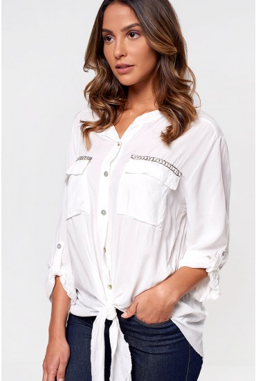 Carrie Long Sleeve Shirt in White
