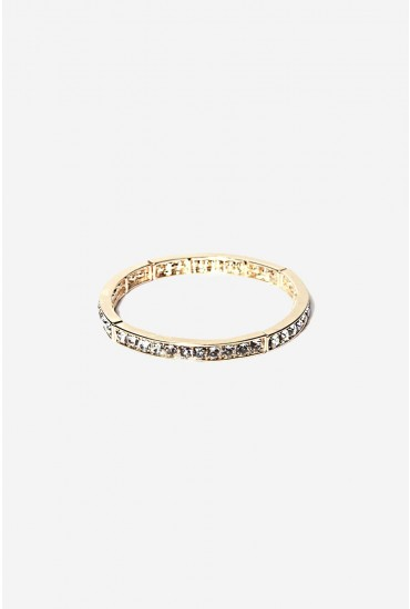 Lainey Sparkle Elastic Bangle in Gold